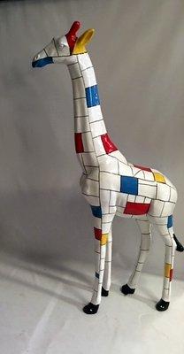 Giraffe 205cm -kunst beeld- mondriaan design handwerk