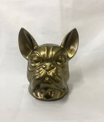 Franse bulldog kop - beeld-goud