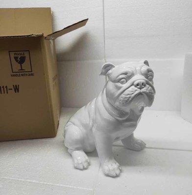 Engelse Bulldog zittend - wit