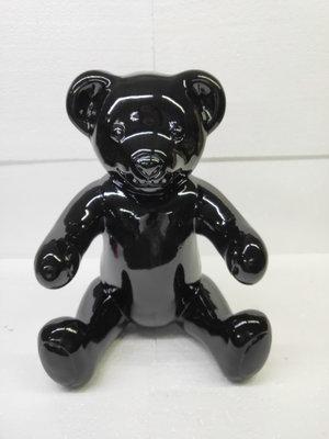 Teddybeer zittend - zwart