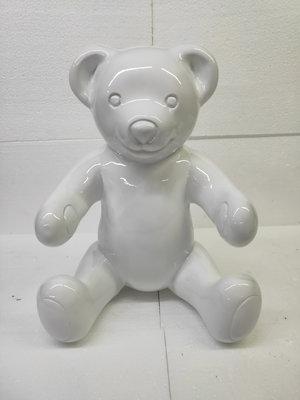 Teddybeer zittend - wit
