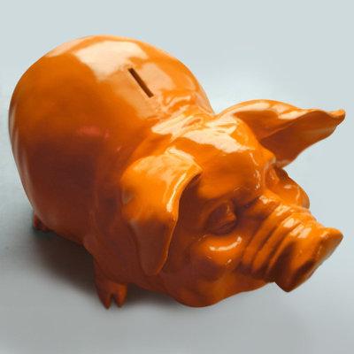 Oranje spaarvarken 50 cm xl