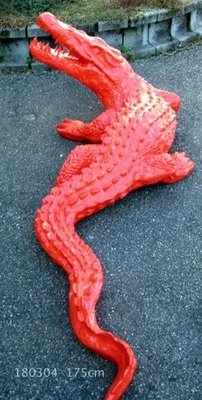 krokodil polyester kunst beeld rood