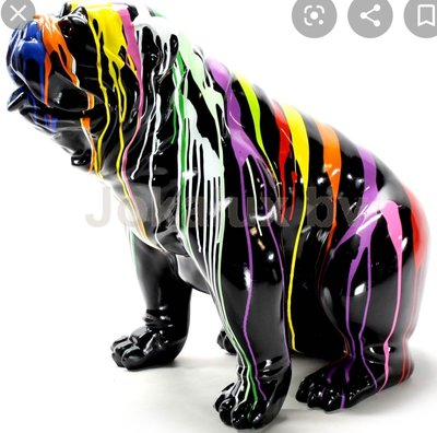 engelse bulldog kunstbeeld zittend groot dripping