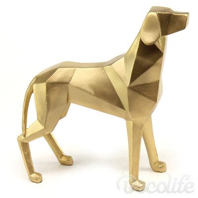Lowpoly dog - goud-geo kunst beekd