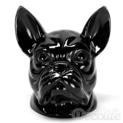 Franse bulldog kop - zwart