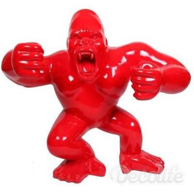 gorilla staand rood kunst beeld xxl