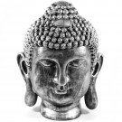 boeddha hoofd polyester XXL 92cm oud zilver