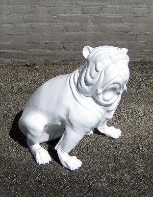 engelse bulldog kunsthars wit hoogglans