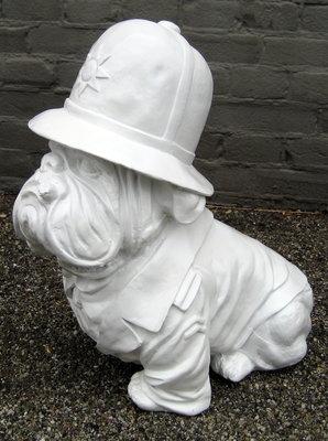 engelse bulldog bobby police dog design beeld wit