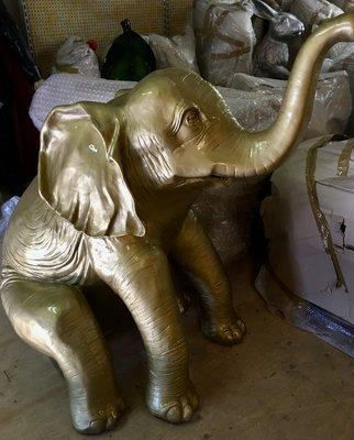 olifant Happy olifant kunst beeld polyester goud 160cm