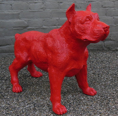 stafford dog polyester beeld rood