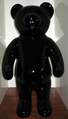 Teddy beer kunsthars hoogglans zwart staand XXL