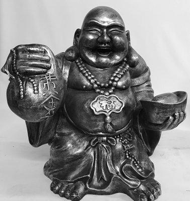 Boeddha Beeld Polyester oudzilver  77cm