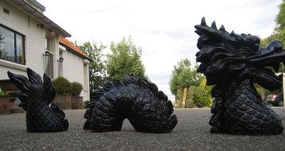 draak chinese geluksdraak 3 delig set polyester beeld zwart