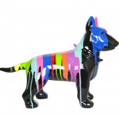Bull terrier -Design-beeld-kunsthars zwart dripping 60cm