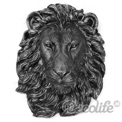 leeuw kop wanddecoratie oudzilver 40x31cm