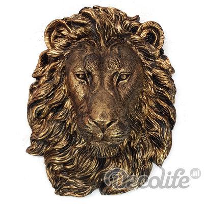 leeuw kop wanddecoratie gebronsd  40x31cm