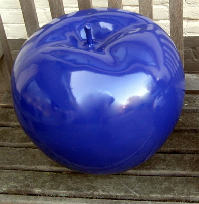 Appel -polyester - blauw -hoogglans-45cm