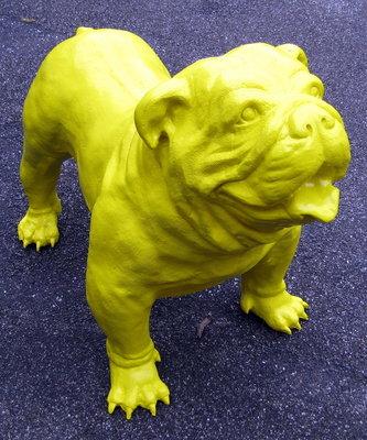 engelse bulldog polyester geel 95x75cm