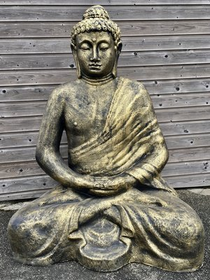 boeddha beeld mega groot zittend polyester beeld gebronsd