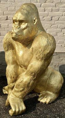 Aap Gorilla Zittend 100cm -Jambo-goudpolyester beeld