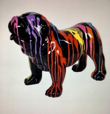 Engels Bulldog 58 cm zwart dripping