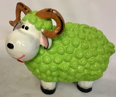 Wollie  ram-schaap - groot - in de kleur groen