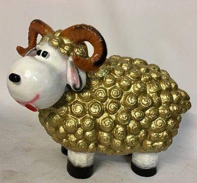 Wollie  ram-schaap - groot - in de kleur goud