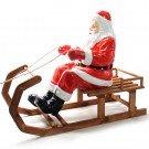 Kerstman op houten slee