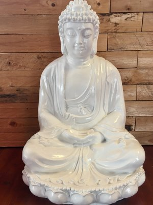 Boeddha beeld Lotus 56 cm wit
