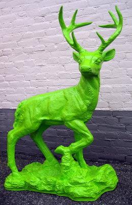 Hert-gewei kunst beeld-hert-rots-polyester-groen