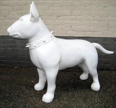 Bull terrier -Design-beeld-wit-hoogglans-kunsthars 115cm