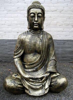 Boeddha Beeld Polyester oud zilver zittend