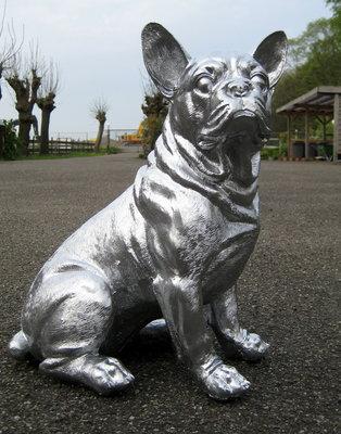 Franse bulldog zittend polyester chromed 42cm