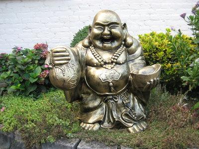 Boeddha Beeld reizende boeddha met geldbuidel