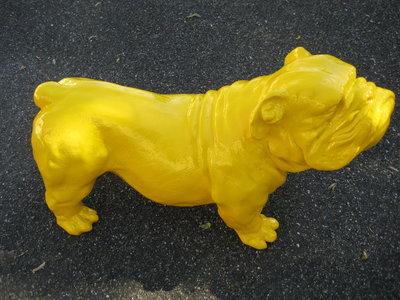 Engelse bulldog Ceasar 65cm polyester geel