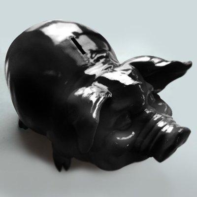 spaarvarken XL 50 cm zwart hooggglans polyester