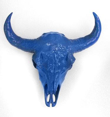 Bizon schedel blauw hoogglans kunst wanddecoratie