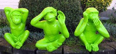 aap horen -zien-zwijgen- 35cm set van 3 stuks