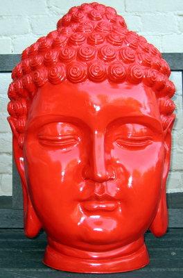 Boeddha hoofd polyester 55cm Rood hoogglans