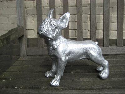 franse bulldog polyester 37cm zilver