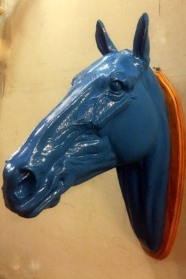 paarden hoofd wand blauw 82cm