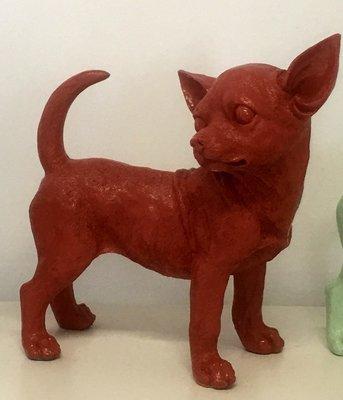 Chihuahua beeld polyester koraal rood