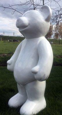 Teddy beer kunsthars hoogglans wit staand XXL