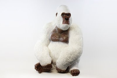Aap Gorilla 80cm polyester beeld wit