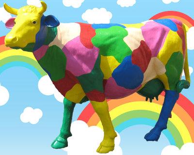 Design Koe Beeld Deoratie Reclame Koe 220cm Rainbow