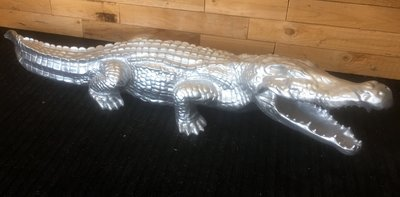 Krokodil beeld 110cm zilver