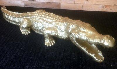 Krokodil beeld 110cm goud