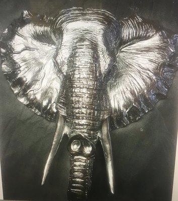 olifant hoofd chrome polyester 38cm